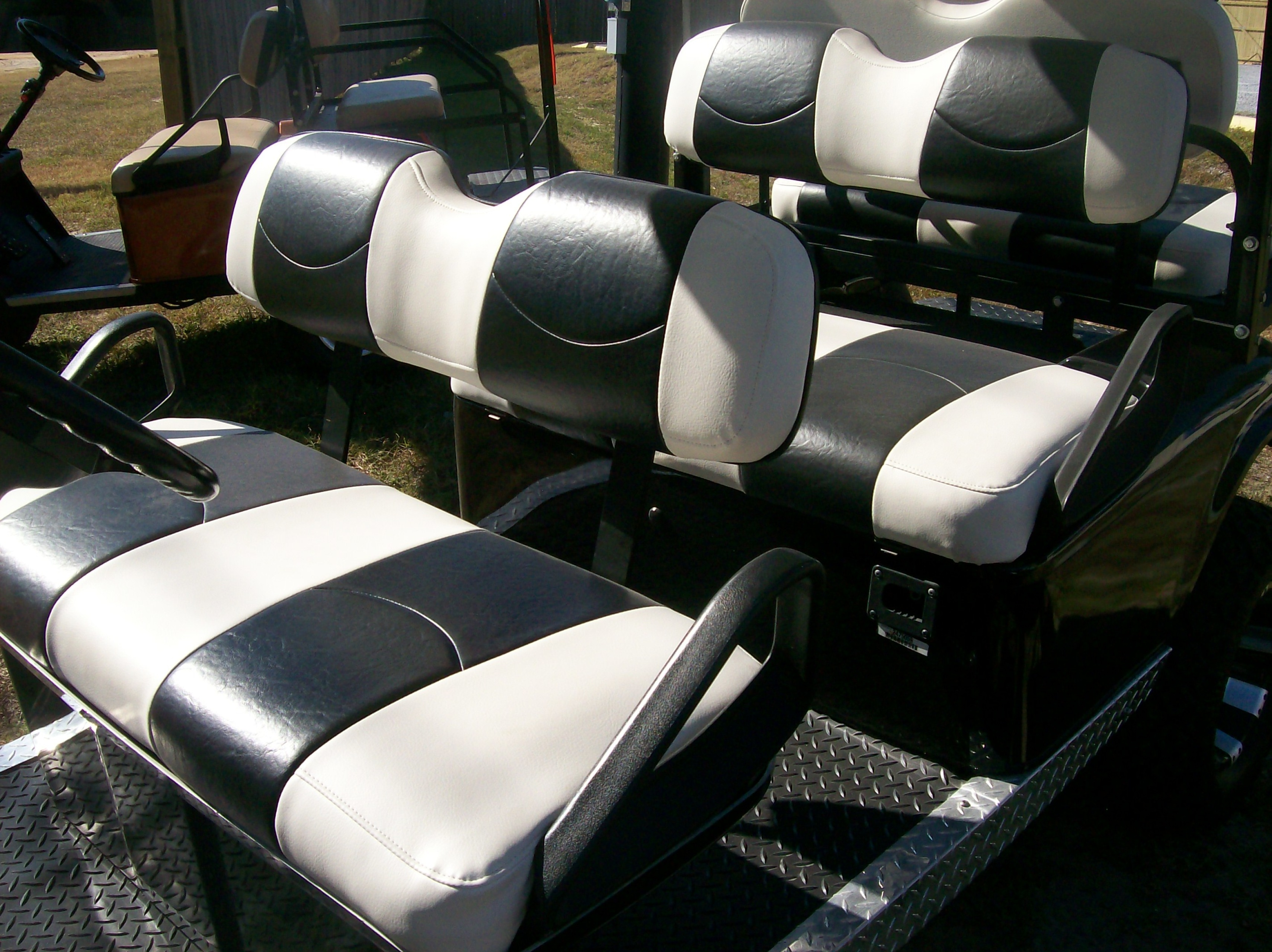 White And Black Striped Deluxe 226 162 Golf Cart Seat Covers