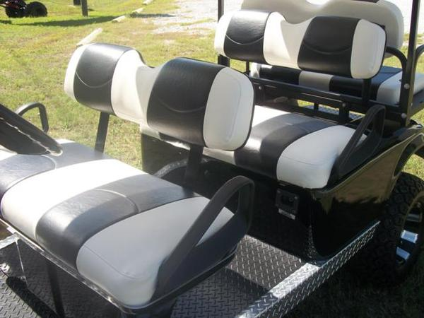 Golf Cart Seat Replacement With Black And White Seat Covers